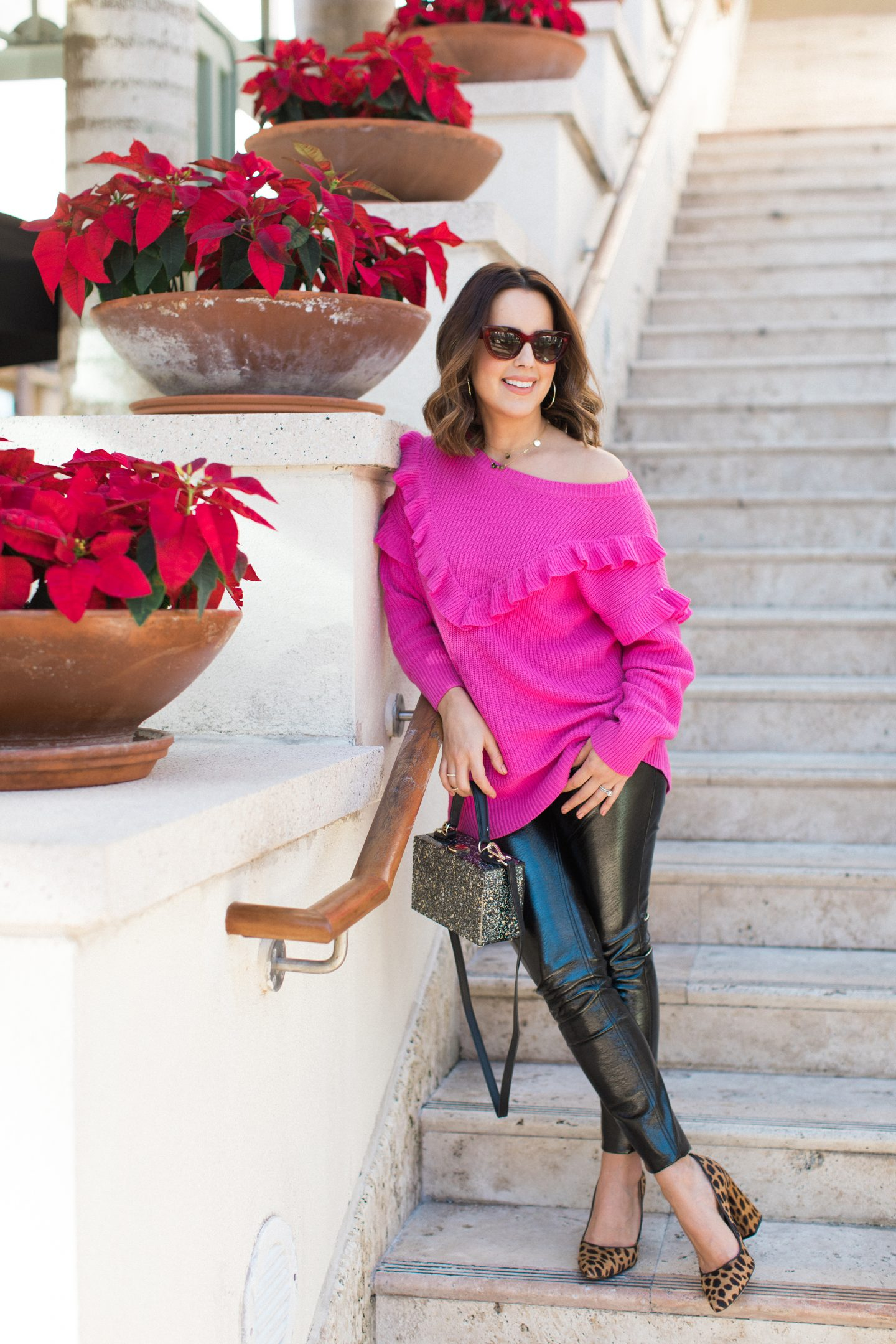 pink-sweater-patent-leather-pants-winter-outfit
