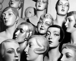 Mannequin Heads Vintage Art Print
