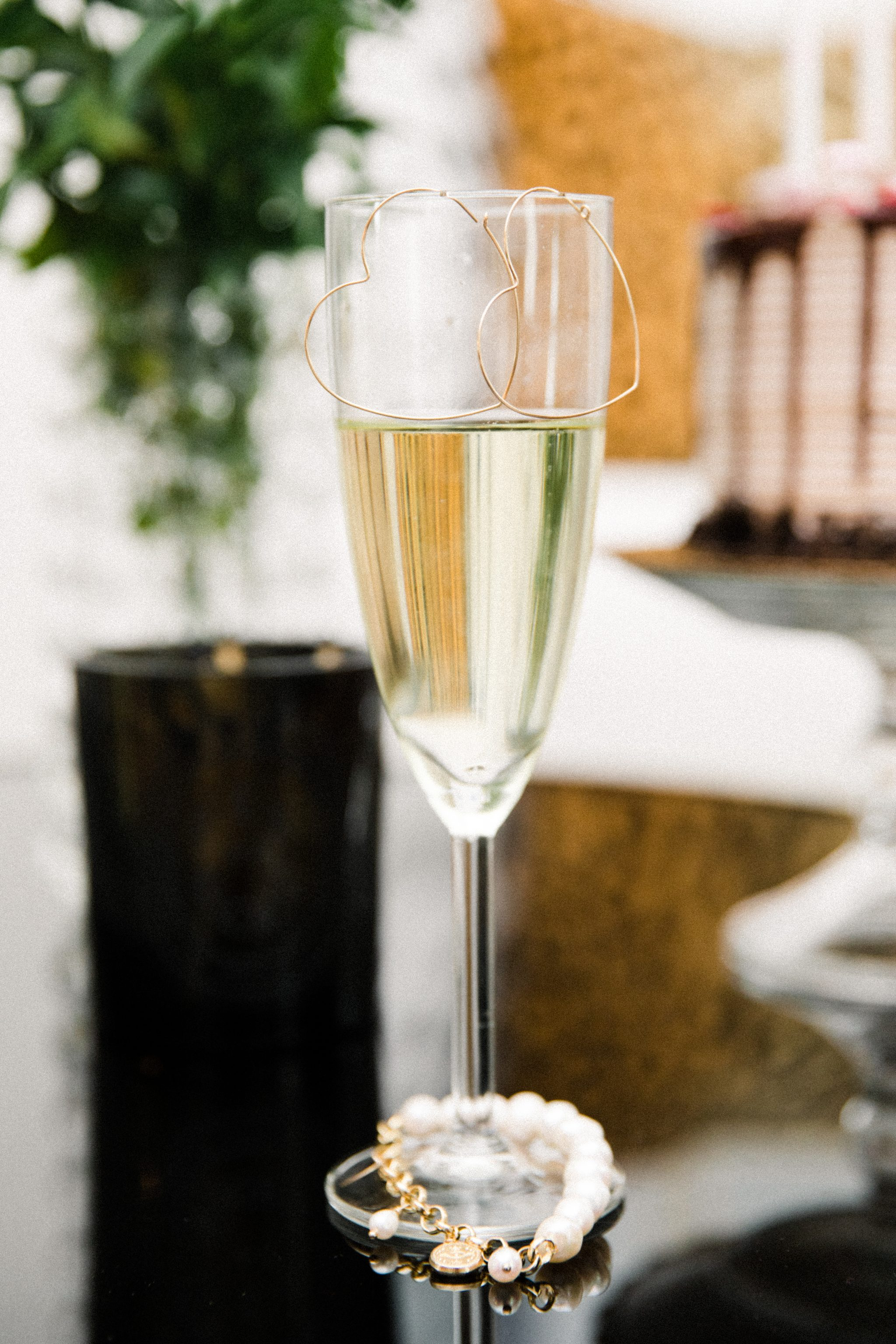 champagne flute and earrings