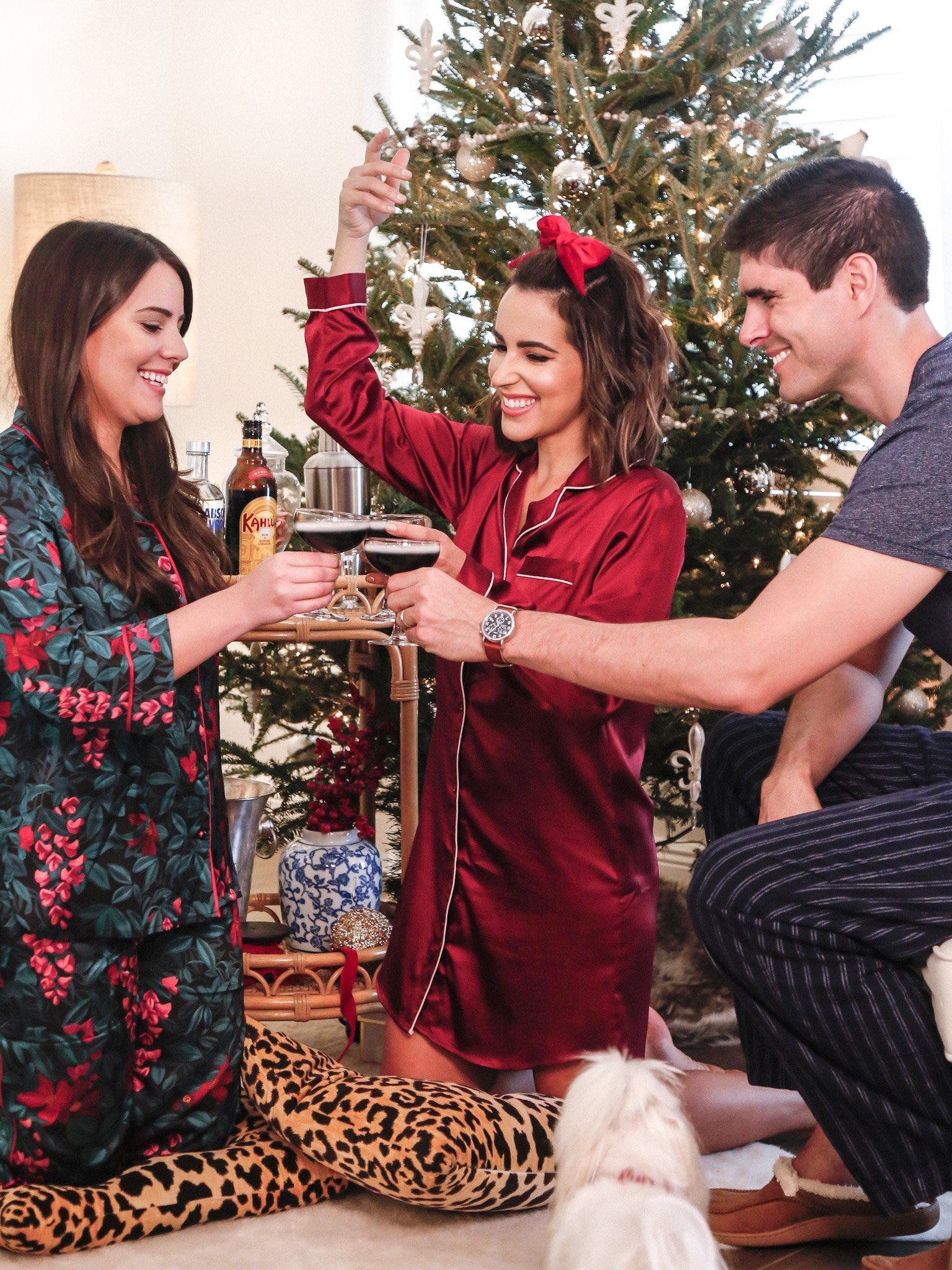 friends holiday pajama party cheers