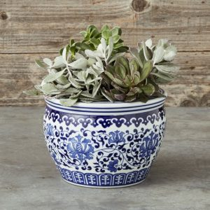Small Blue & White Planter