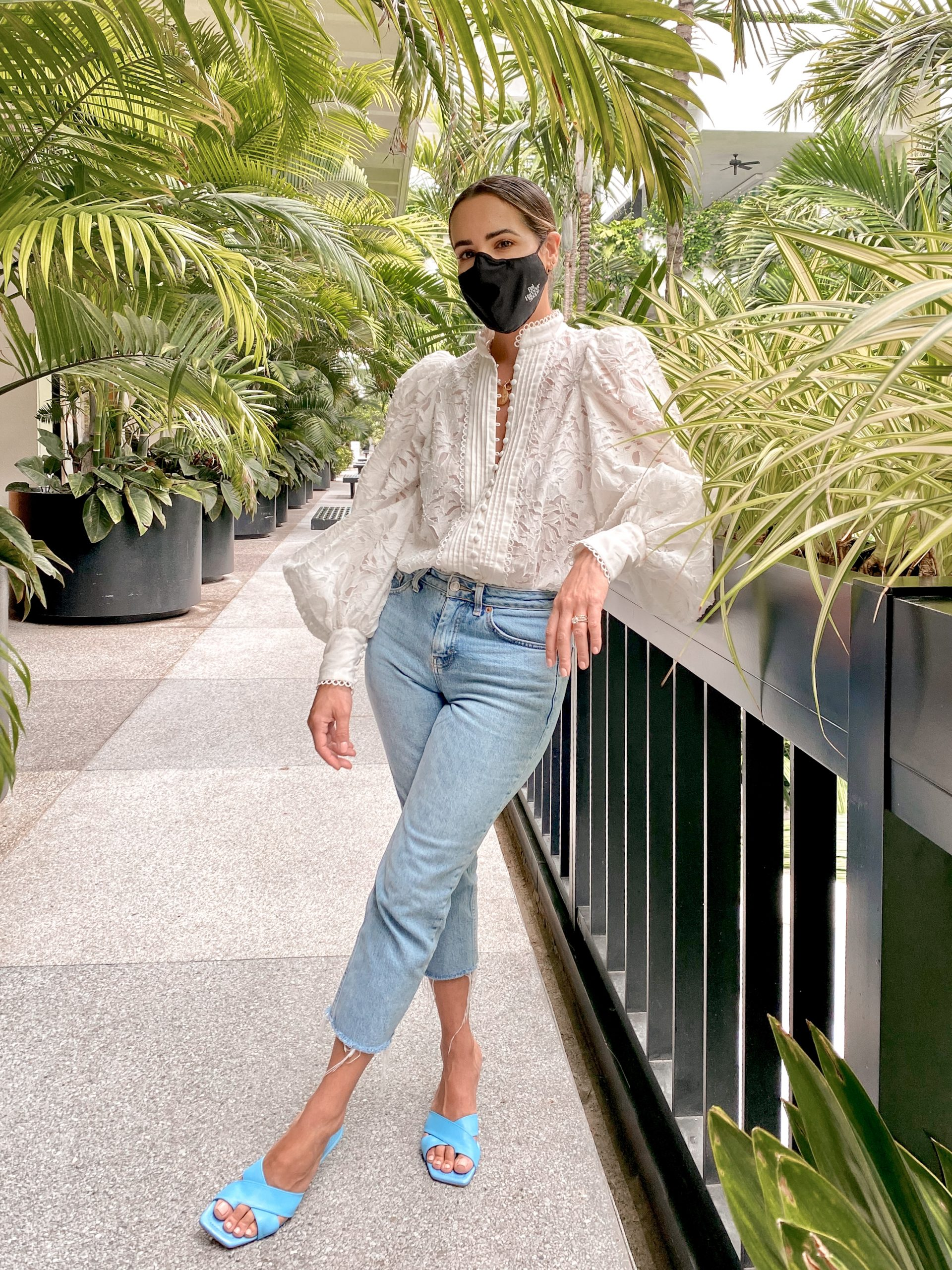 Kelly Saks wears a face mask at Bal Harbour Shops