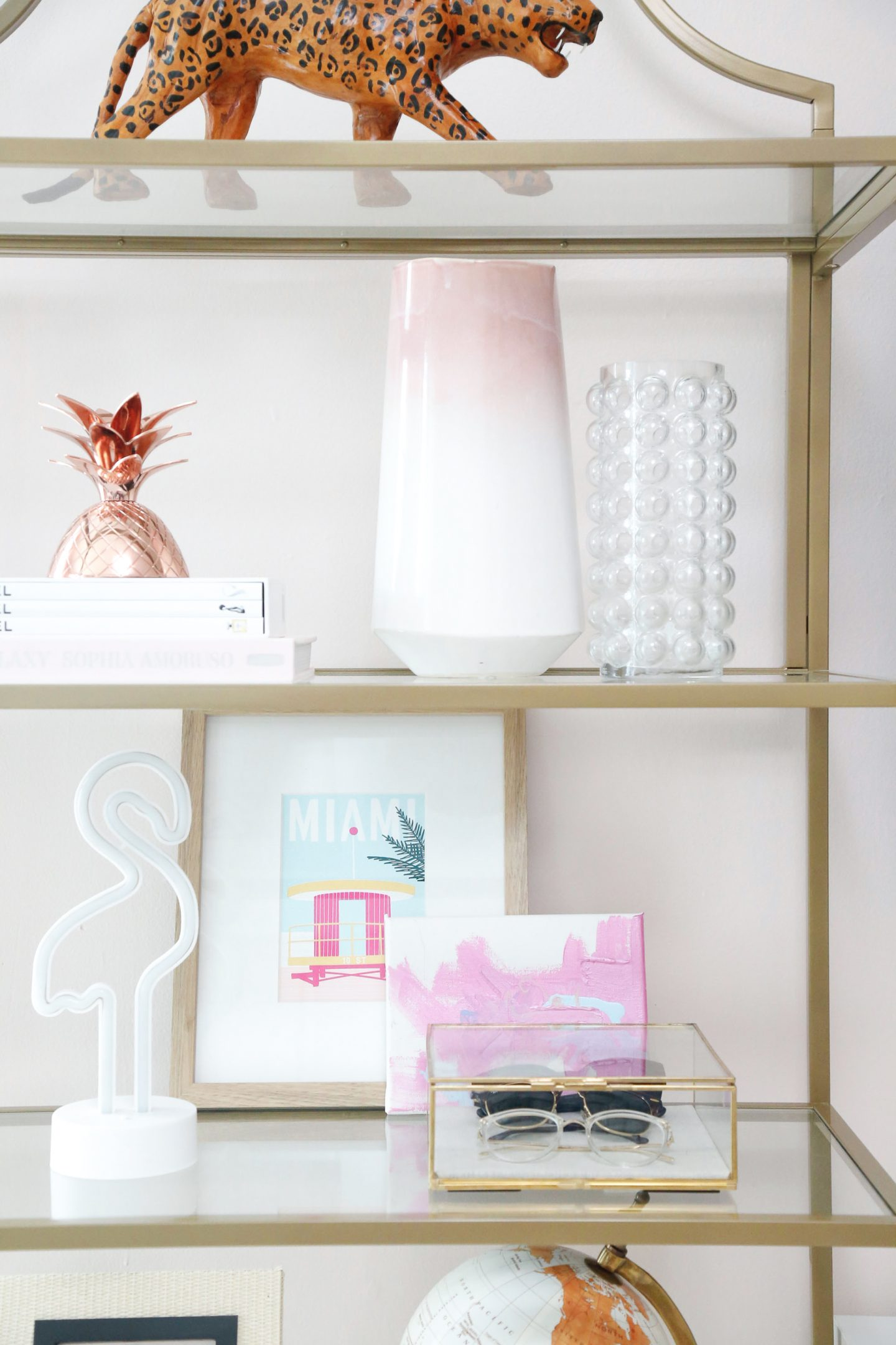 modern etagere shelf styling