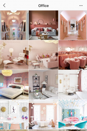 collage of pink rooms